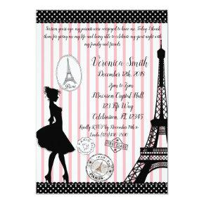 Sweet 16 Paris Passport Pink & Black Invitation