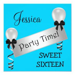 Sweet 16 Party Blue Black Silver Bows Balloons Invitation