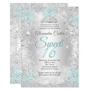 Sweet 16 Party Photo Silver Teal blue Snowflake Invitation
