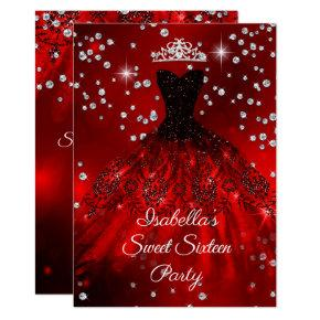 Sweet 16 Party Red sparkle dress TIARA Invitation
