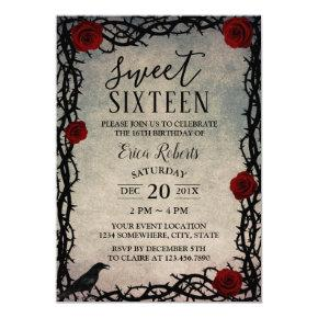 Sweet 16 Rose & Thorn Vintage Fairytale Birthday Invitation