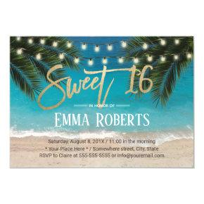 Sweet 16 String Lights Tropical Beach Invitation