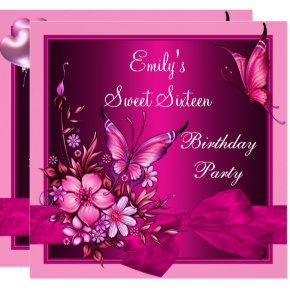 Sweet Sixteen 16 Pink Flowers Butterfly Birthday Invitation