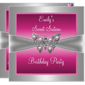 Sweet Sixteen 16 Pink Silver Butterfly Birthday 4 Invitation