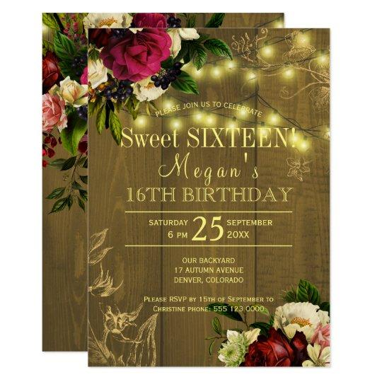 Sweet sixteen gold lights wood floral autumn fall invitation