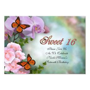 Sweet Sixteen Invitation butterflies and flowers