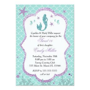 Sweet Sixteen Invitation Mermaid Purple Teal
