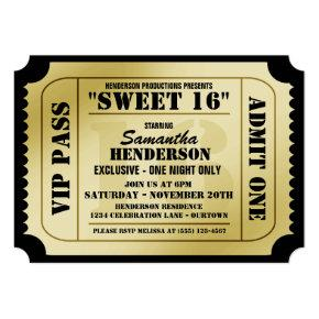 Sweet Sixteen VIP Ticket Style Party Invitations