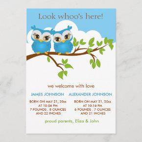 Sweet Twins Owls Baby Boy Birth Announcement Card