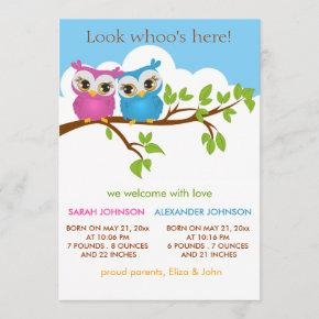 Sweet Twins Owls Baby Girl Boy Birth Announcement