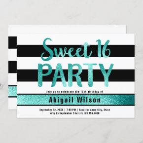 Teal black white sweet sixteen birthday party invitation