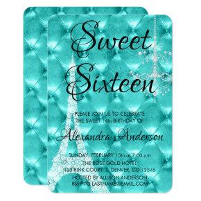 Teal Blue Paris Sweet Sixteen Birthday Party Invitation