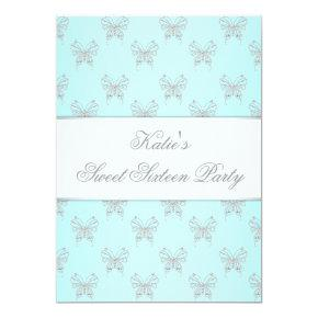 Teal Butterflies Classy Sweet Sixteen Party Invitation