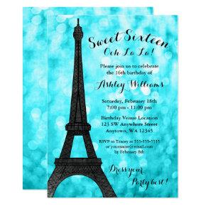 Teal Paris Bokeh Glitter Lights Sweet 16 Invitation