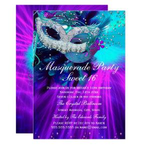 Teal Purple Feather Masked Masquerade Party Invitation