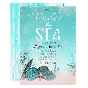 Teal Under the Sea Shells Beach Sweet 16 Party Invitation