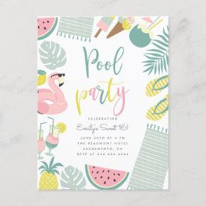 Trendy Summer Pool Party Script Sweet 16 Birthday Invitation Postcard