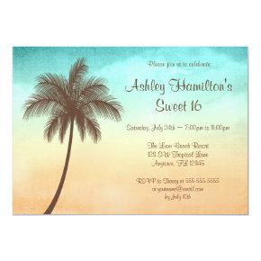 Tropical Beach Palm Tree Sweet 16 Invitation