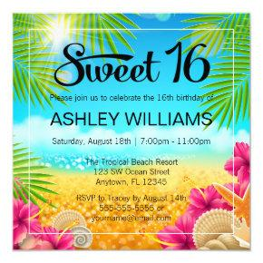 Tropical Beach Pink Hibiscus Sweet 16 Birthday Invitation