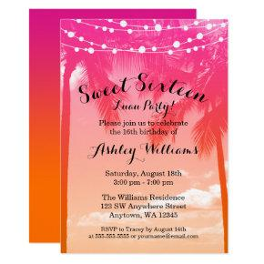 Tropical Luau Pink Orange Sweet 16 Birthday Invitation