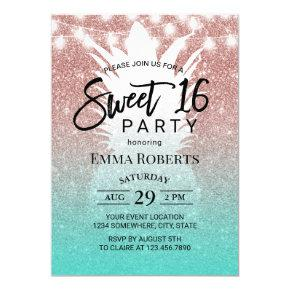 Tropical Pineapple Rose Gold Aqua Teal Sweet 16 Invitation