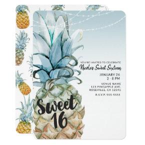 Tropical Pineapple & String Lights Sweet 16 Party Invitation