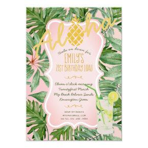 Tropical Pink Gold Birthday Invite Pineapple ALOHA