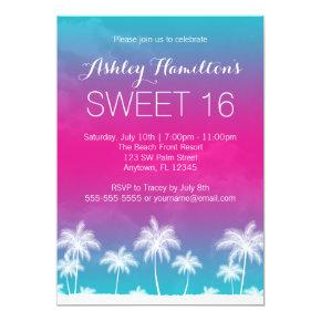 Tropical Teal Pink Sweet 16 Birthday Invitation