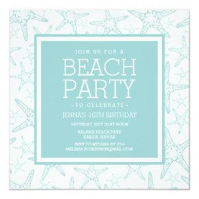 Turquoise Starfish Beach Party Invitation
