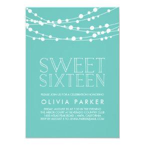 Turquoise String Lights Sweet Sixteen Invitation