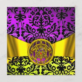 TWIN DRAGONS GOLD PURPLE BLACK DAMASK MONOGRAM INVITATION