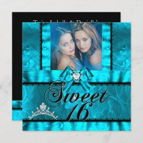 Twin Girls Blue Teal Sweet Sixteen Sweet 16 Invitation