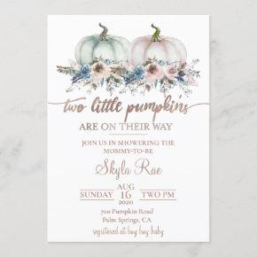 Twins Pumpkin Baby Shower Invitation