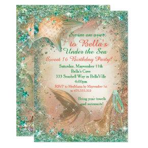 Under the Sea Mermaid Birthday Invitations