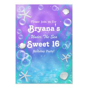 Under the sea sweet 16 birthday party invitation