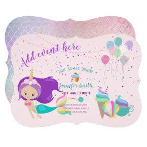 Unicorn Mermaid Princess Birthday Invitations