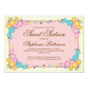 Very Sweet Candy Themed Sweet Sixteen Birthday Invitation