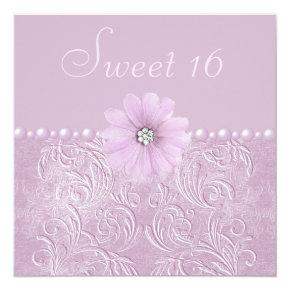 Vintage Lilac Bling Flowers & Pearls Sweet 16 Invitation