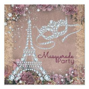 Vintage Paris Masquerade Party Invitation