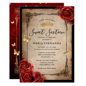 Vintage Red Rose Gold Black Elegant Sweet 16 Invitation