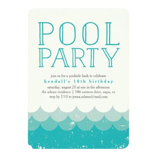 Vintage Waves Pool Party Invitation Sweet Sixteen Invitations