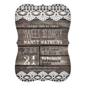 White Lace on Rustic Brown Wood Sweet 16 Party Invitation