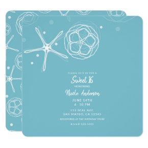 White Pearl Starfish Sweet 16 Sixteen Party Invitation