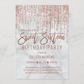 White Rose Gold Glitter Pearl Marble Sweet 16 Invitation