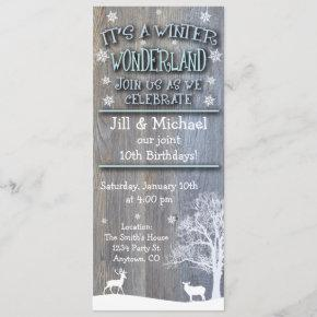 Winter Wonderland Joint Birthday Invitations